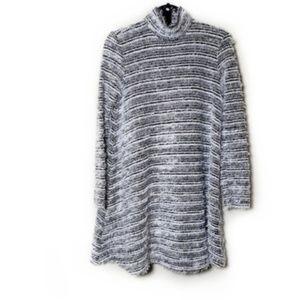 Asos Black & White Fuzzy Turtleneck Sweater Tunic